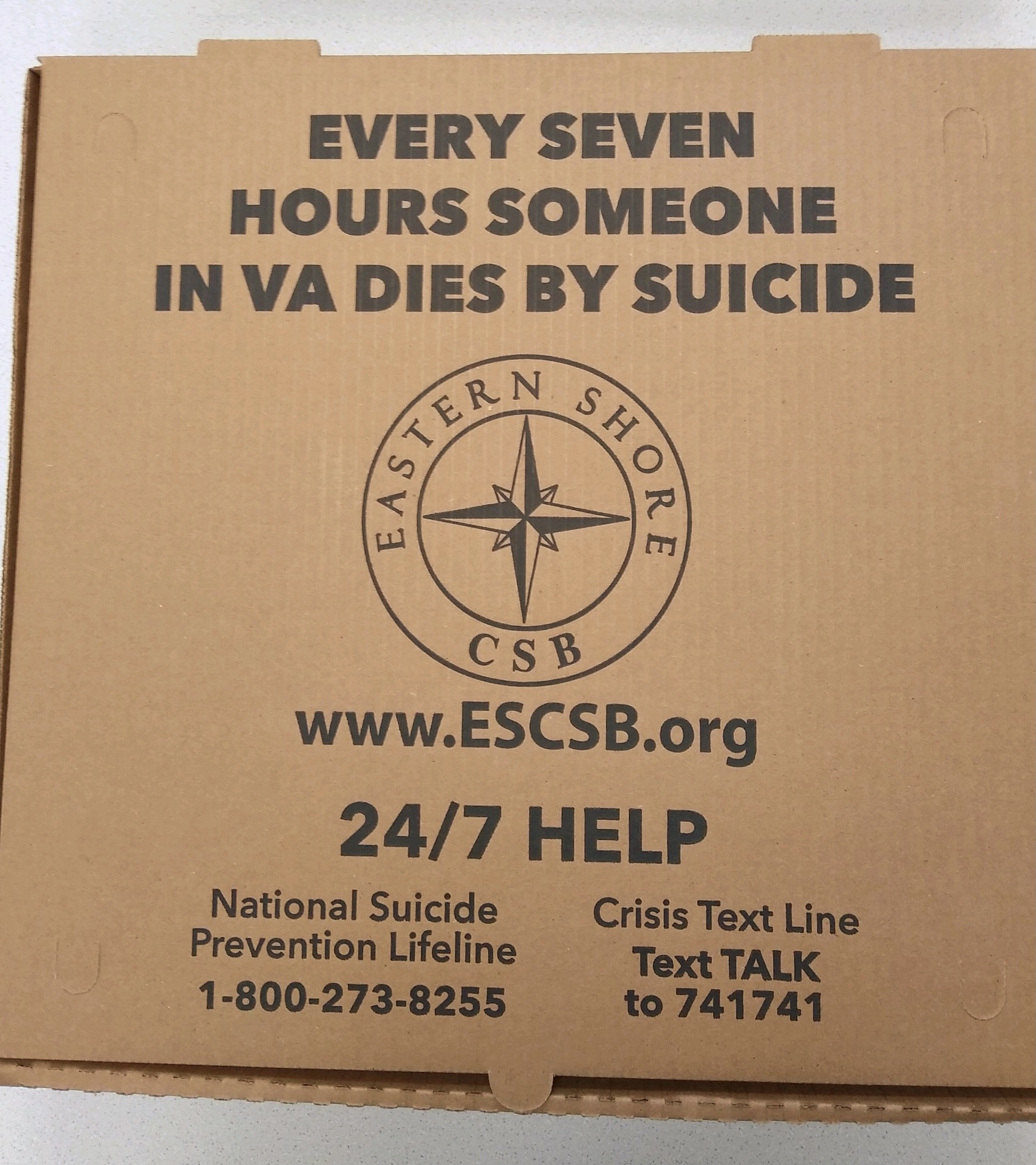 suicide prevention pizza box